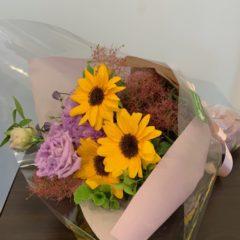 ひまわりとトルコ桔梗の花束